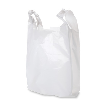plastic pollution: Empty white plastic bag on white background. Clipping path included.