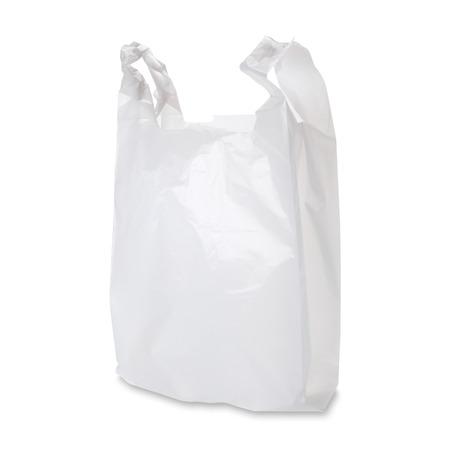 kunststoff: Leere weiße Plastiktüte auf weißem Hintergrund. Clipping-Pfad enthalten. Lizenzfreie Bilder