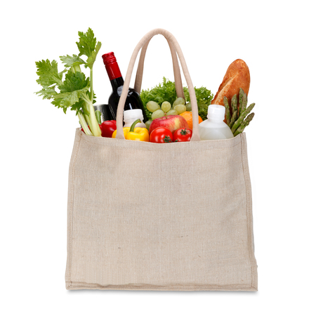 vegetables white background: Eco Friendly Shopping bag with clipping path