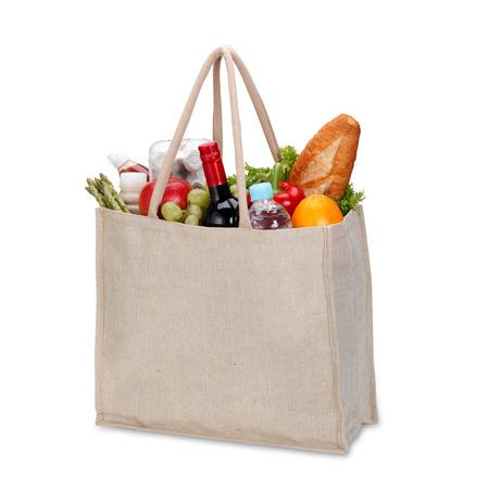 Milieuvriendelijk winkelen zak met het knippen weg Stockfoto