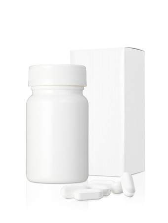 Blank white plastic medicine bottle and blank paper package box and pills isolated on white background