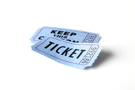 movie ticket: Blue ticket on white background