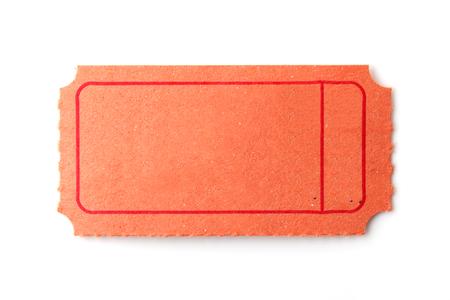 Blank Orange ticket on white. Archivio Fotografico