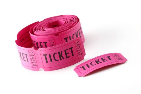 raffle ticket: Roll of Tickets closeup on a white background Stock Photo