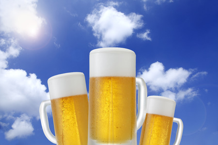 draft beer: Draft beer and blue sky Stock Photo