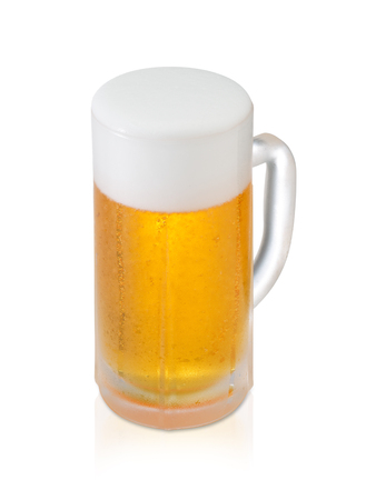 Glass of Fresh Beer with Foam and Bubbles on white background