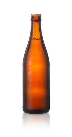 A brown beer bottle isolated on white