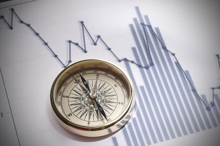 Close-up van een kompas op de grafiek van de effectenbeursgegevens