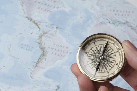 america del sur: brújula y mapa Foto de archivo