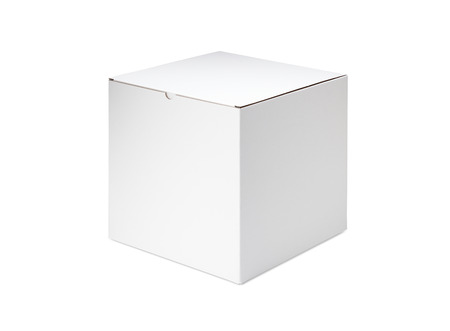 white color: White blank box on white background Stock Photo