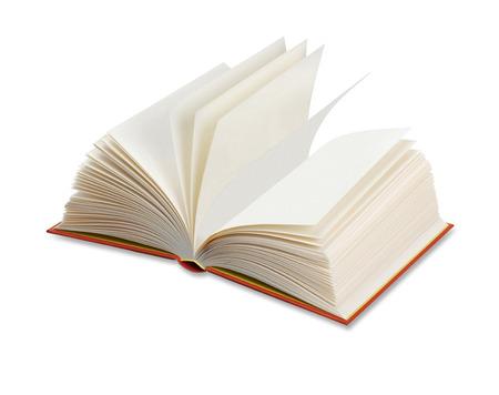 libro abierto: Abrir el libro aislado en blanco Foto de archivo