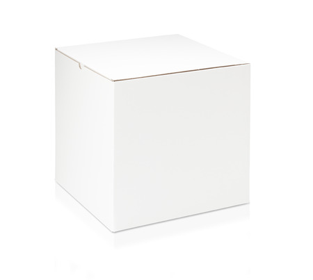 White blank box on white background Imagens