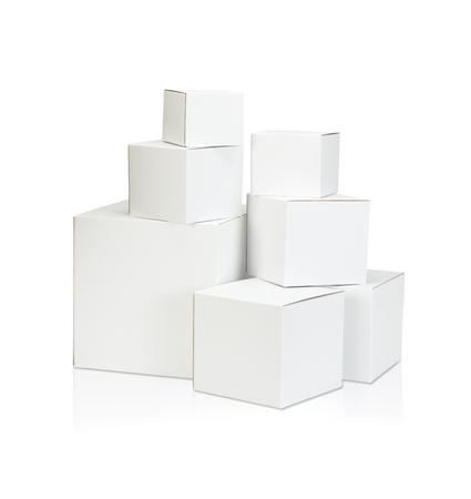 blank box: White blank box on white background Stock Photo