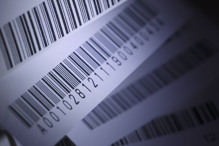 Blue selective focus image of receipts bar code
