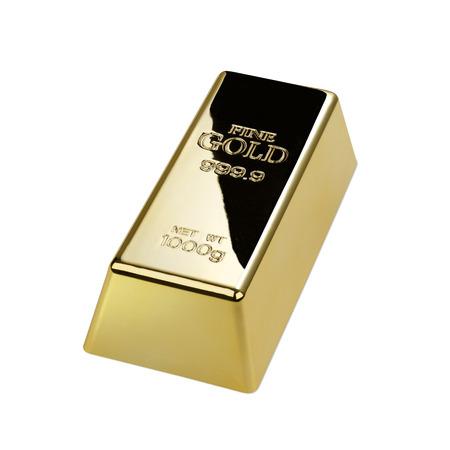 lingote de oro: Gold bar isolated on white background Foto de archivo