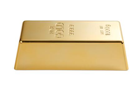 Gold bar geïsoleerd op witte achtergrond Stockfoto