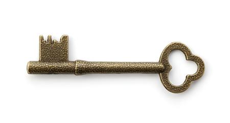 ホワイトのアンティークの金色の鍵 写真素材