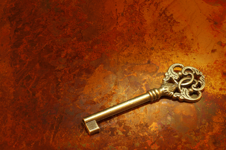 copper background: Old Key on Copper background