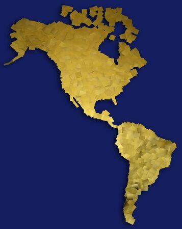 south  america: oro mapa de América del Norte y del Sur