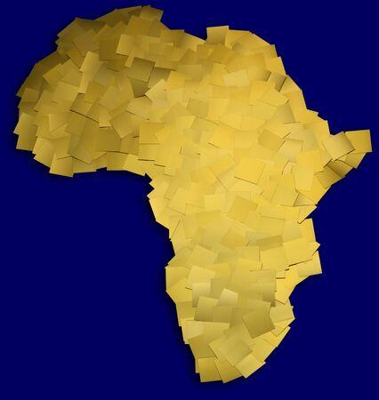 아프리카의 금 금속 칩으로 만든지도 스톡 콘텐츠