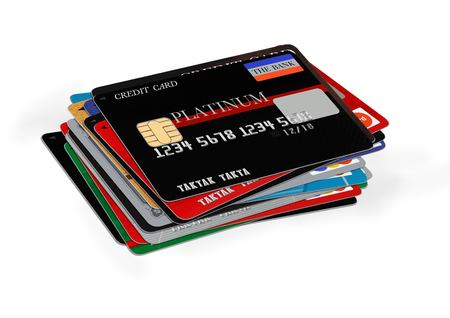 commercial activity: credit cards stack on white