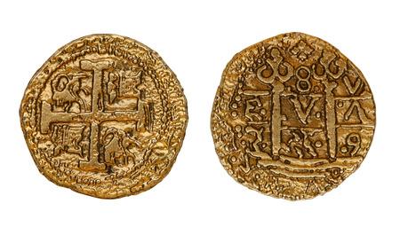 monedas antiguas: antiguas monedas de oro Foto de archivo