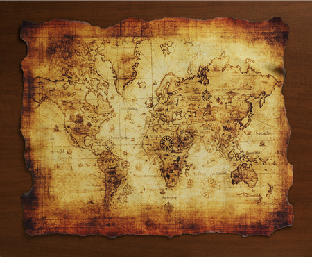 ancient map: ancient map of the world Stock Photo