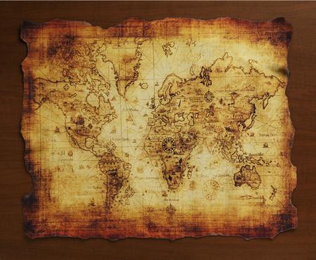 Antica mappa del mondo Archivio Fotografico - 46295813