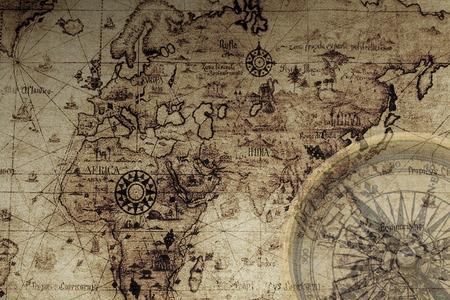 古代の地図とコンパス 写真素材