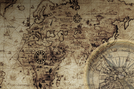 ancient map: ancient map and compass