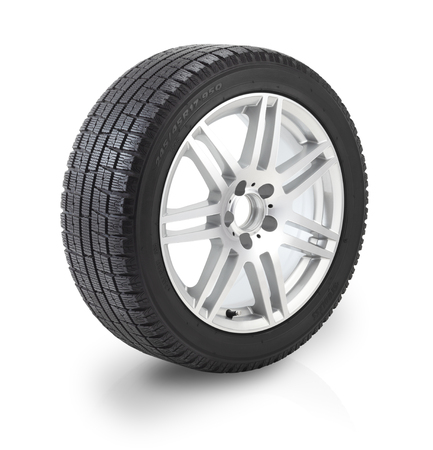 Winter tyre and Car wheel on white background. Clipping path included.