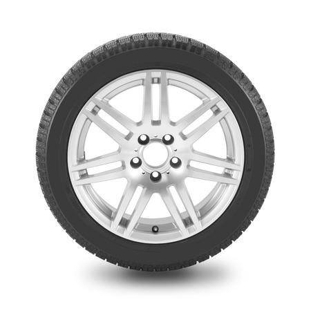 冬タイヤと白い背景の上の車のホイール。クリッピング パスを含めます。