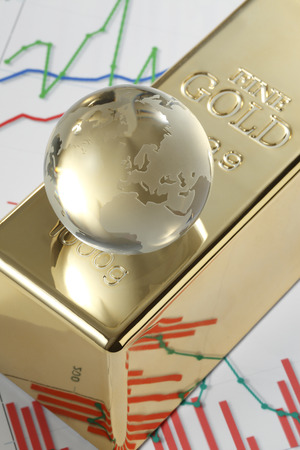 gold bars: Globe on gold bars