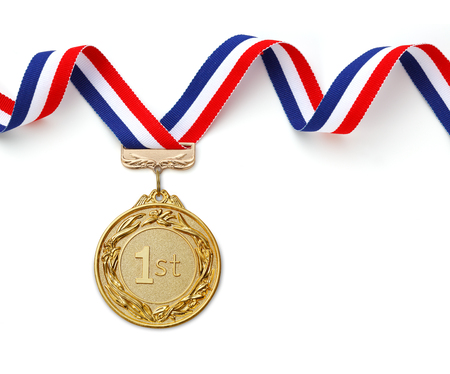 Gold medal on white background Banque d'images