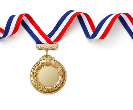 Gold medal on white background Imagens