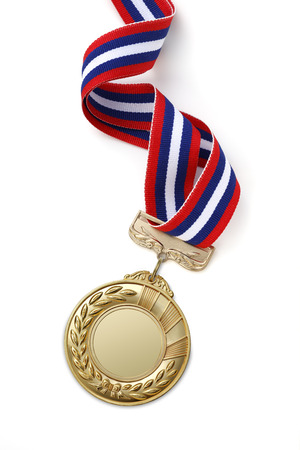Gold medal on white background 스톡 콘텐츠