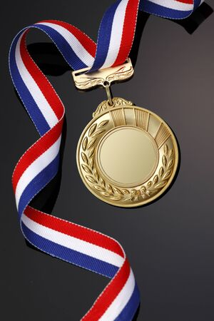 red white blue: Gold medal on black background