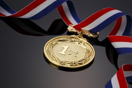 Goldmedaille auf schwarzem Hintergrund
