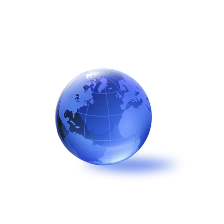 three dimensions: Globe of the World. The Atlantic ocean with clipping path