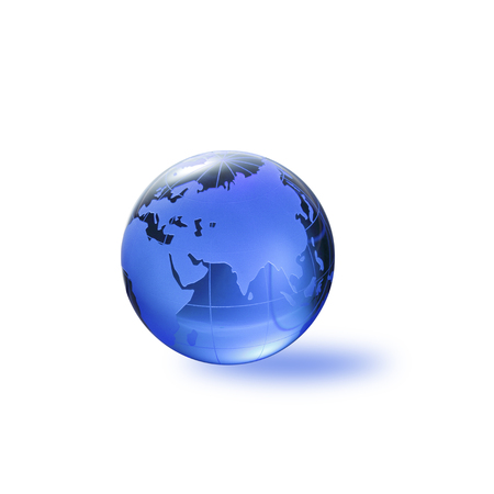 three dimensions: Globe of the World.Eurasiawith clipping path