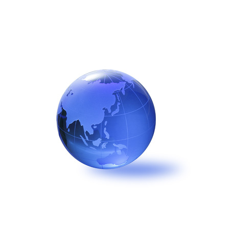three dimensions: Globe of the World.Asiawith clipping path