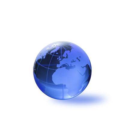 three dimensions: Globe of the World.Europe, the Africawith clipping path