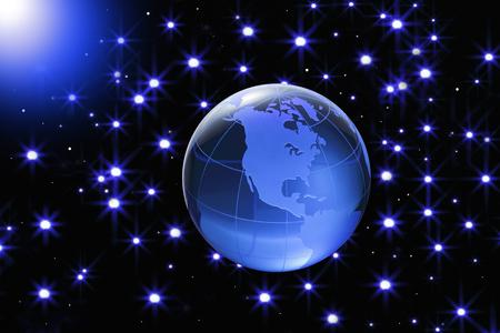 three dimensions: Globe of the World. AmericaBlue glass globe on Starlit sky