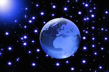 three dimensions: Globe of the World.Europe, AfricaBlue glass globe on Starlit sky