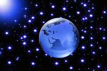 starlit sky: Globe of the World.EurasiaBlue glass globe on Starlit sky