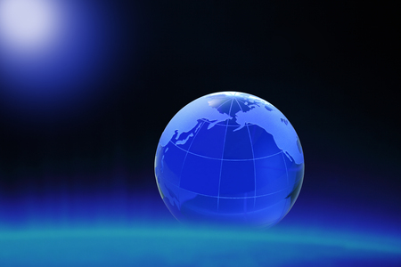 three dimensions: Globe of the World.Pacific Ocean