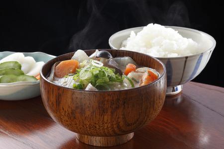 miso soup Traditional japanese dish butajiru and rice and pickles
