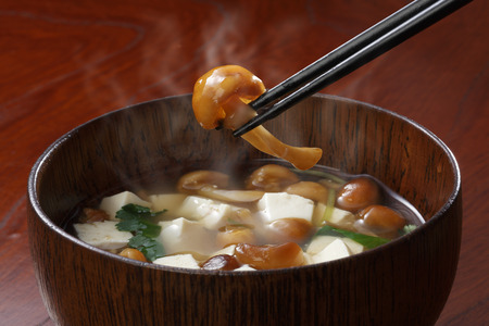 mushroom soup: miso soup Traditional japanese dish namekojiru Stock Photo
