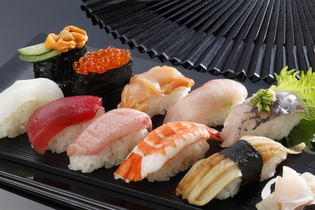 brigt: Japanese seafood sushi many tasty fresh japanese sushi with tuna, caviar and shrimp Stock Photo