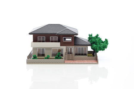 miniature: model of the house on white background Stock Photo